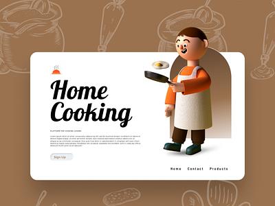 Home Cooking cooking food applications kichusdesigns kichus uiux website web branding graphic design 3d christeena illustration chumma.design chumma illustrator design