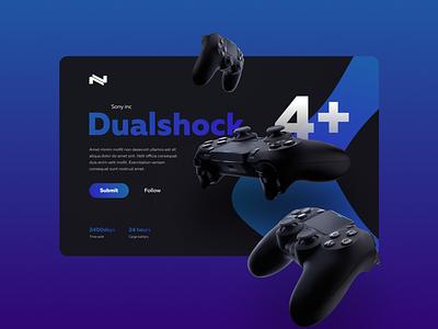 Concept for DualShock joystick landing website animation minimal web typography vector logo design branding ux ui