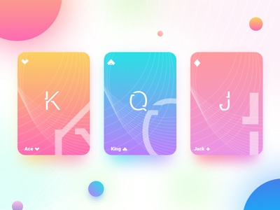 Hi Dribbble flat gradient minimal game casino color ui cards