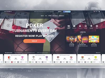 Gaming website homepage flat book sports sportsbook betting casino ux ui