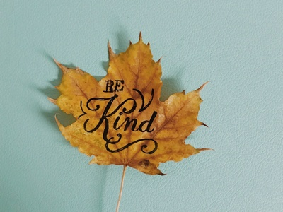 Be Kind Leafy Lettering
