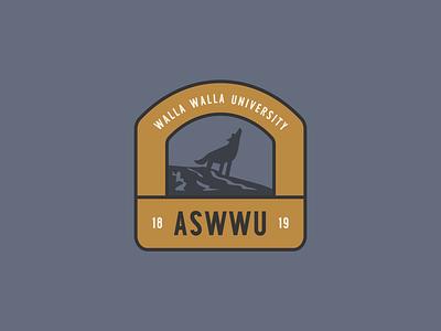 Associated Students of Walla Walla University wolf logo branding typography design flat illustration