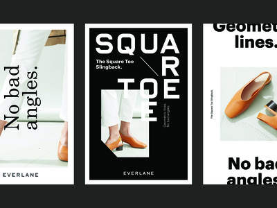 Everlane Posters geometric graphic design advertising everlane shoes campaign poster design