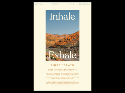 Poster a Day — 21 inhale exhale breathe typography create every day poster layout graphic design poster a day