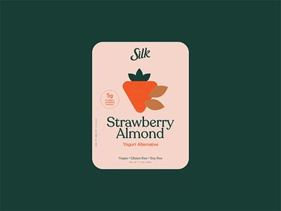 Strawberry Almond yogurt label shape exploration simple design yogurt label almond strawberry packaging minimal illustration illustration label design