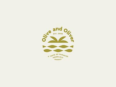 Olive and Oliver logo waves graphic design daily mark simple logo emblem hawaii palm trees beach ocean illustration olive and oliver coffee shop branding logo logo design
