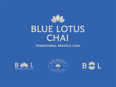 Blue Lotus Chai mark concepts a logo a day daily mark tea package rebrand concept lotus blue lotus logo concept tea label chai tea branding illustration logo