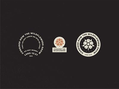 Luke 12:27 rustic flower seal badge logo lockup graphic wildflowers lockups bible verse luke 2:27 daily mark illustration