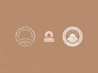 Psalm 121 badge daily mark illustrations lockup seal emblem sunshine mountain illustration bible verse psalm 121