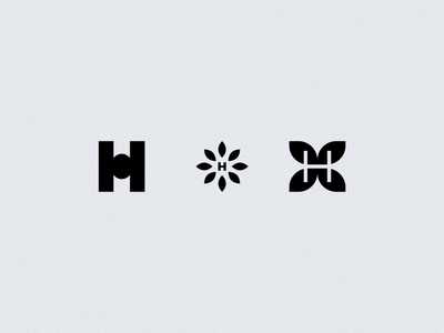 'H' leaves daily mark monogram h explorations concept logos logo