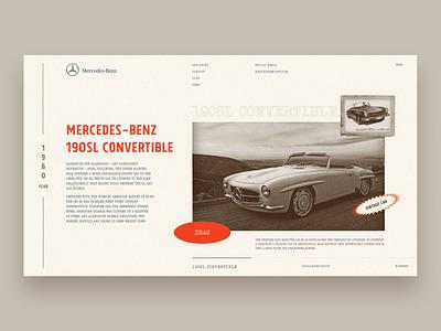 Vintage car website web ui design