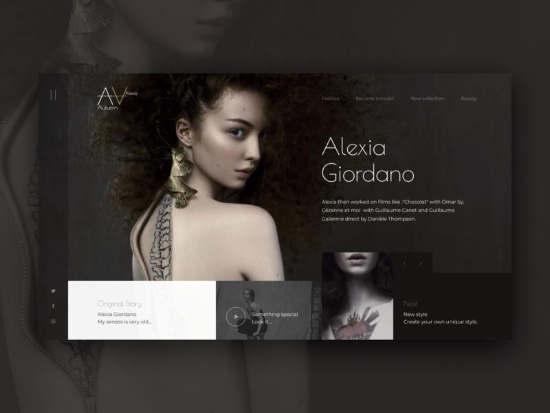 Alexia Giordano debutshot debut girl fashion icon illustration website web typography logo ux ui design