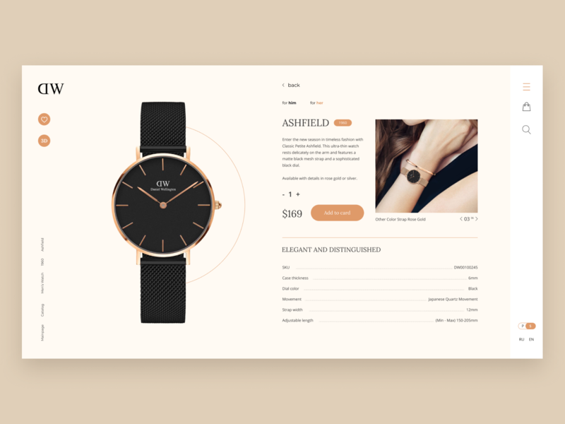 Daniel Wellington ecommerce redesign concept product card ecommerce watch daniel wellington minimal vector typography simple design logo icon clean  creative clean branding website web ui girl fashion design