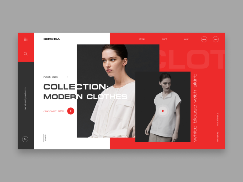 Bershka ecommerce concept red and white clothes shop product ecommerce minimal ux typography simple design icon logo clean clean  creative website branding ui web girl fashion design