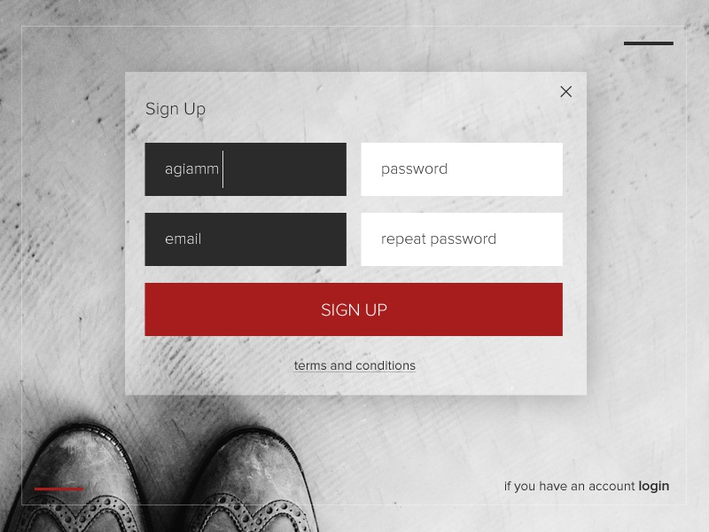 Sign up - design #001for Daily Ui red white daily ui sign up form minimal signup