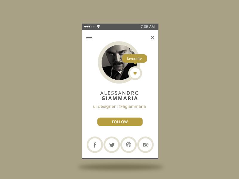 User Profile - Daily Ui 6 minimal gold app user user uidesign ui dailyui daily ui user profile