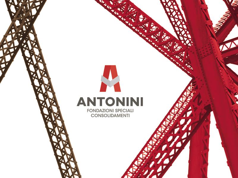 Antonini Foundations Logo Design building brand design branding grey red buid brand logo design logo