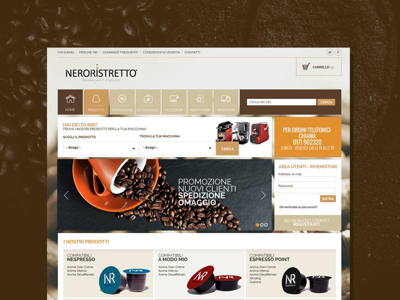 Nero Ristretto - UI/UX Design orange dark shopping bag brown coffee e-commerce ui ux website web design