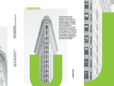 Minimal poster series - Univers black white green ui typo minimal graphic design univers font poster