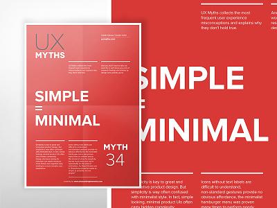 UX Myths Poster series: Simple is Minimal design web webdesign ui design minimal red poster uxui ui ux
