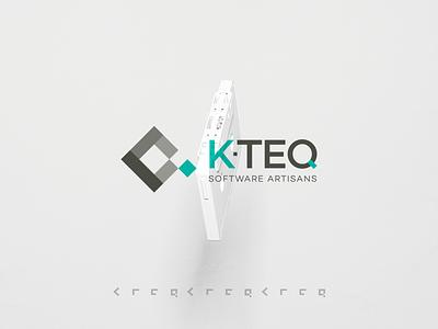 K-Teq Logo Design green blue grey software brand minimal logofolio logo design logo