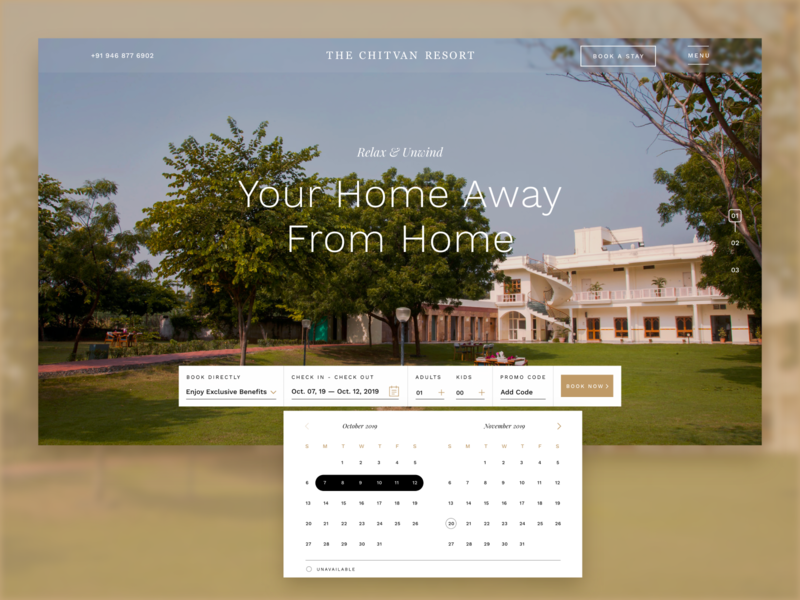 Chitvan Resort- A Family Resort/Hotel Website design userinterface minimal homepage luxury adobexd reservation webdesign hotel booking interface ui design ux ui