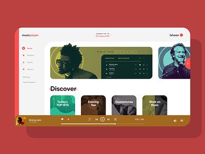 Music Player Concept music app music web design branding website web uidesign design ux ui
