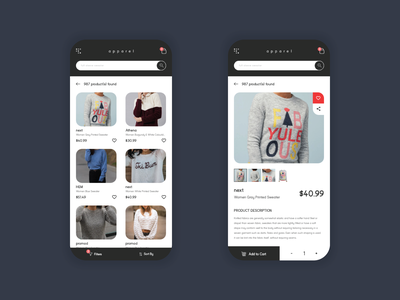 Apparel - Onlne Shopping App mobile app uidesign design ux ui