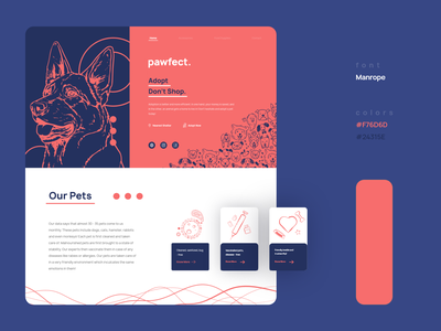 Pawfect - Pet Adoption Site landing page pet illustration webdesign web design website web uidesign design ux ui