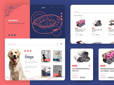 Pawfect - Accessories Page shopping pet illustration webdesign web design website web uidesign design ux ui
