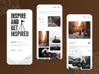 The Photography Club photography travel mobile app branding uidesign design ux ui