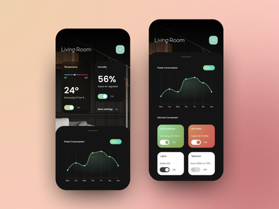 Smart Home App smarthome smart app mobile dark ui uidesign design ux ui
