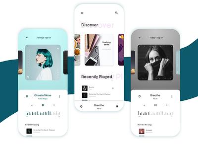 Music Player app mobile uidesign ux design ui
