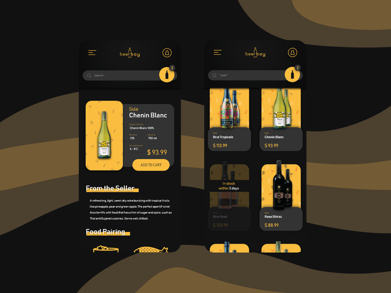 BeerBoy - Online Liquor Store mobile app dark ui branding uidesign design ux ui