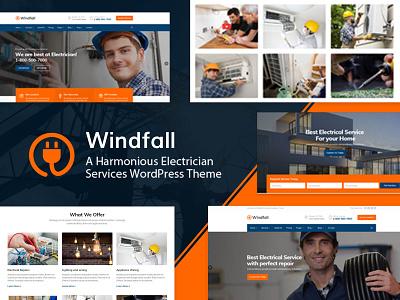 Windfall – Electrician Services WordPress Theme services repairer repair renovation plumbing mechanic maintenance handyman engineering electricity electrician electrical electric company business