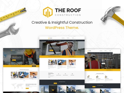 Roof - Construction, Building WordPress Theme shop plumber industry corporate contractor constructor construction company business building architecture templates minimal