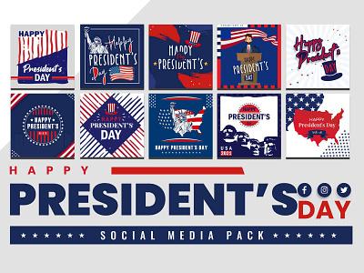 President's Day Social Media Pack usa template