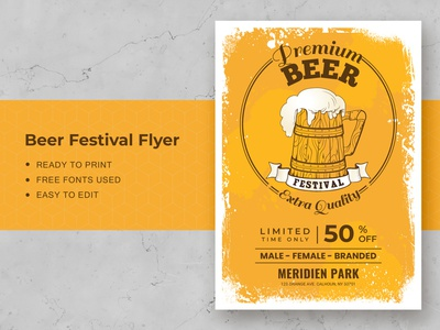 Beer Festival Flyer Template hop graphic glasses food flyer festive festival drink design creative brewery beverage beer bar banner background alcohol advertising