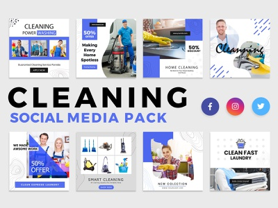 Cleaning Services Social Media Template twitter template