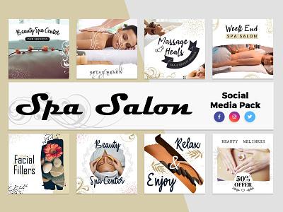 Spa & Salon Social Media Template twitter