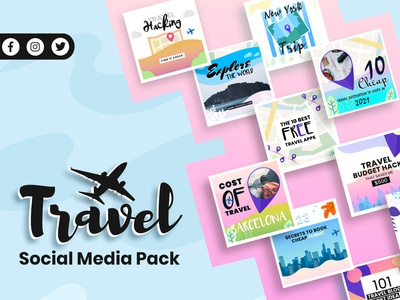 Travel Social Media Post Template blogger