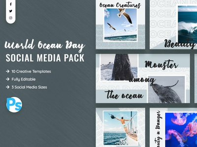 World Ocean Day Social Media Template promotions