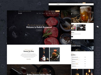 Rodich - A Restaurant WordPress Theme wordpress themes restaurant portfolio pizza one page menu food diner clean chief cafe