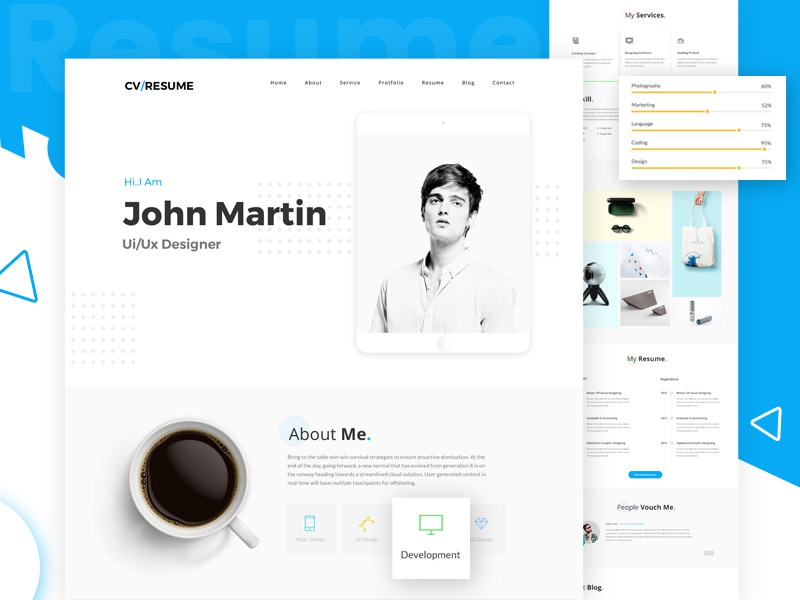 Freebies Online Resume Website Psd Template By Victorthemes On