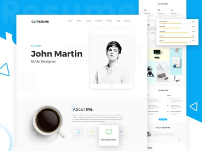 Freebies Online Resume Website Psd Template By Victorthemes Dribbble