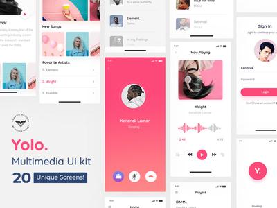 Yolo Multimedia Mobile App UI Kit