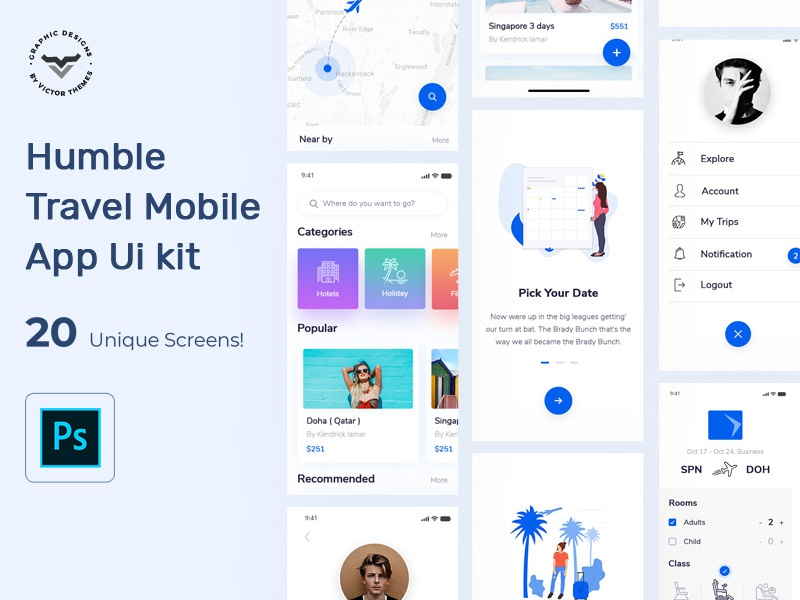 Humble Travel App Mobile UI Kit profile payment booking hotel holidays pack interface application ux kit ui mobile app travel humble