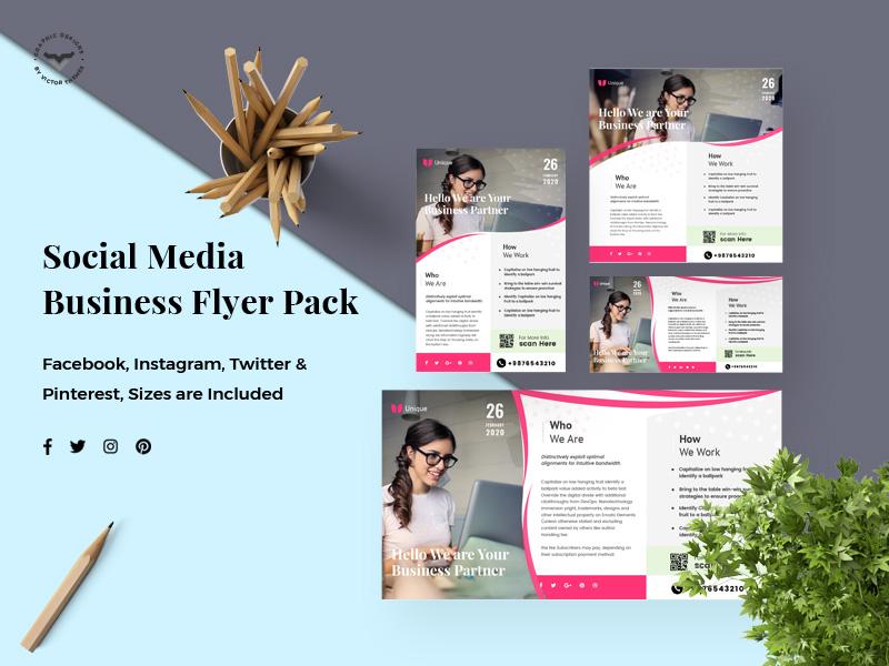 Business Social Media Template minimal creative template professional business kit pinterest pack media social twitter promotion banner facebook instagram