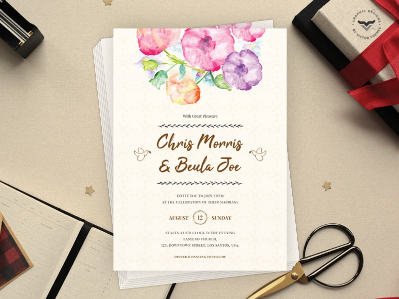 Wedding Invitation Template invitations marriage print art flower design graphic celebrations celebration promotions promotion templates template invitation wedding