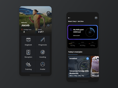 Fitness app typography ux icon dark gradient blue app design flat ui